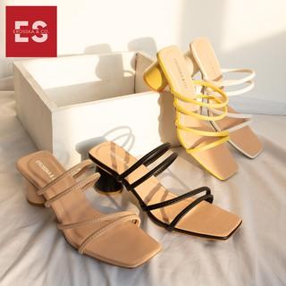 Hình ảnh Dép cao gót Erosska thời trang mũi vuông phối dây quai mảnh cao 5cm màu kem _ EM038-5