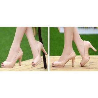 Giày cao gót hở mũi phối beo cao 7 phân cam kết y hình