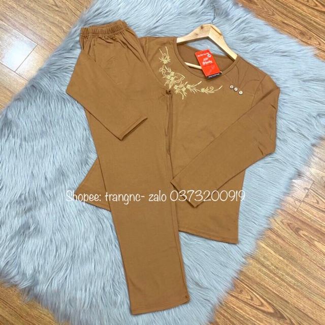 Bộ mặc nhà trung niên - quần áo trung niên cho người già người trung tuổi dài tay thu đông