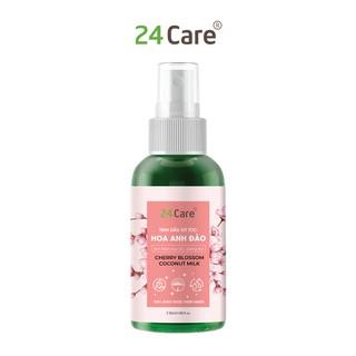Xịt dưỡng tóc tinh dầu hữu cơ Hoa Anh Đào Vỏ Bưởi 24Care 50ml-Ức chế melanin, chống bạc tóc, gãy rụng, cho tóc óng ả thumbnail
