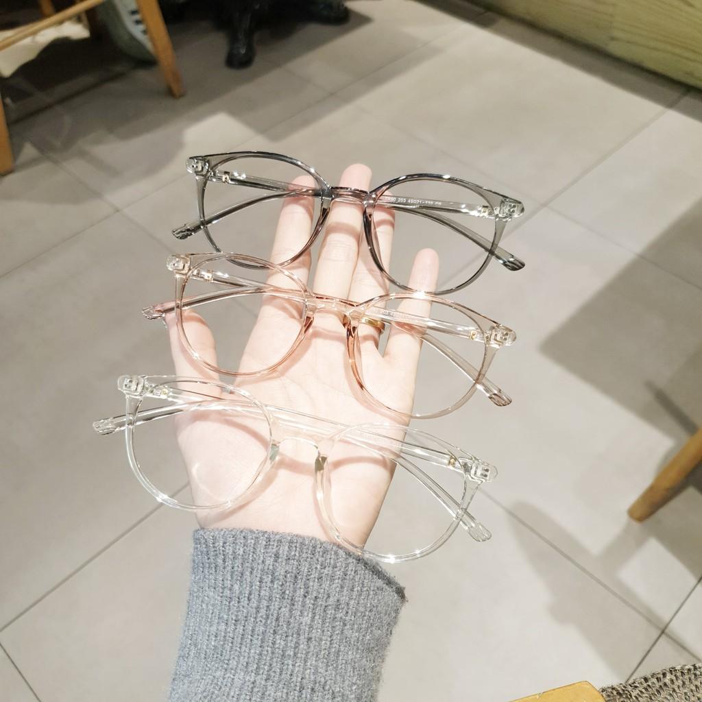 Gọng kính mắt tròn nhựa dẻo Hàn thời trang nữ, Gọng kính cận tròn dẻo 203