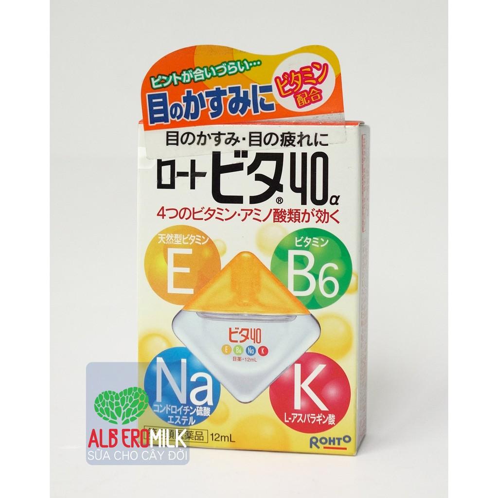 Thuốc nhỏ mắt Rohto Nhật bản Vita 40 bổ xung vitamin (12ml) - 2612449 , 99757864 , 322_99757864 , 90000 , Thuoc-nho-mat-Rohto-Nhat-ban-Vita-40-bo-xung-vitamin-12ml-322_99757864 , shopee.vn , Thuốc nhỏ mắt Rohto Nhật bản Vita 40 bổ xung vitamin (12ml)