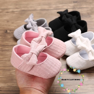 BBCQ-Baby Girls Solid Color Shoes with Bow-knot, Soft Sole Anti-slip Low-cut Princess Shoe for Spring, Fall