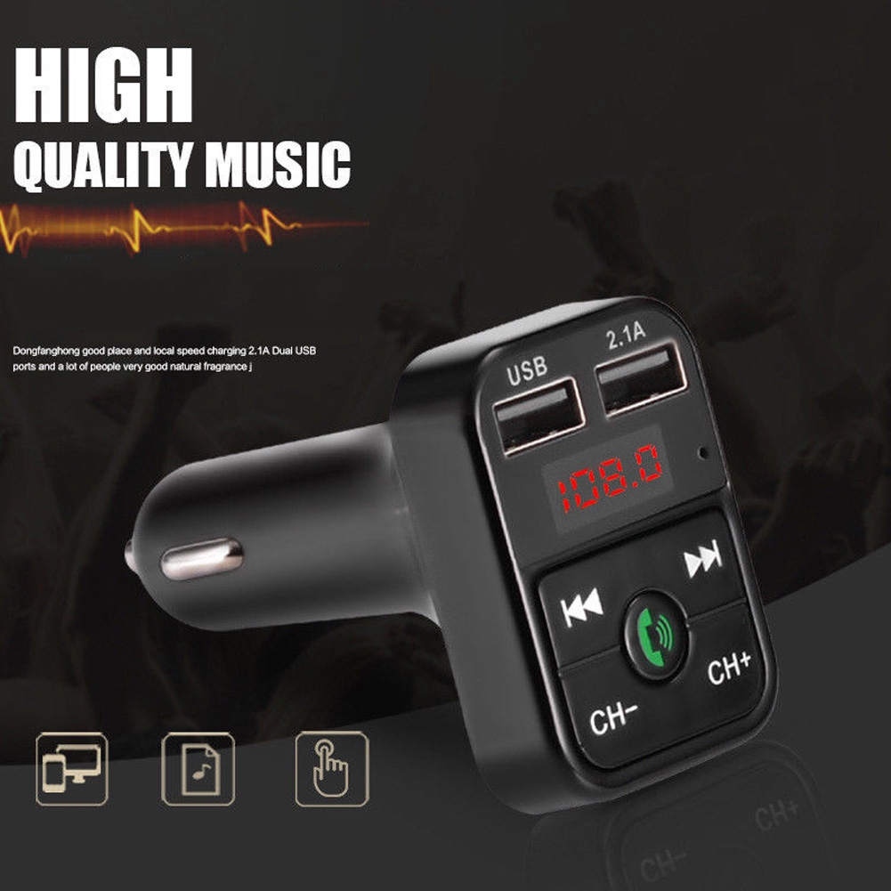 Memory Function Vehicle Call Music Wireless Microphone FM Transmitter Dual USB Universal Handsfree Car Player Bluetooth