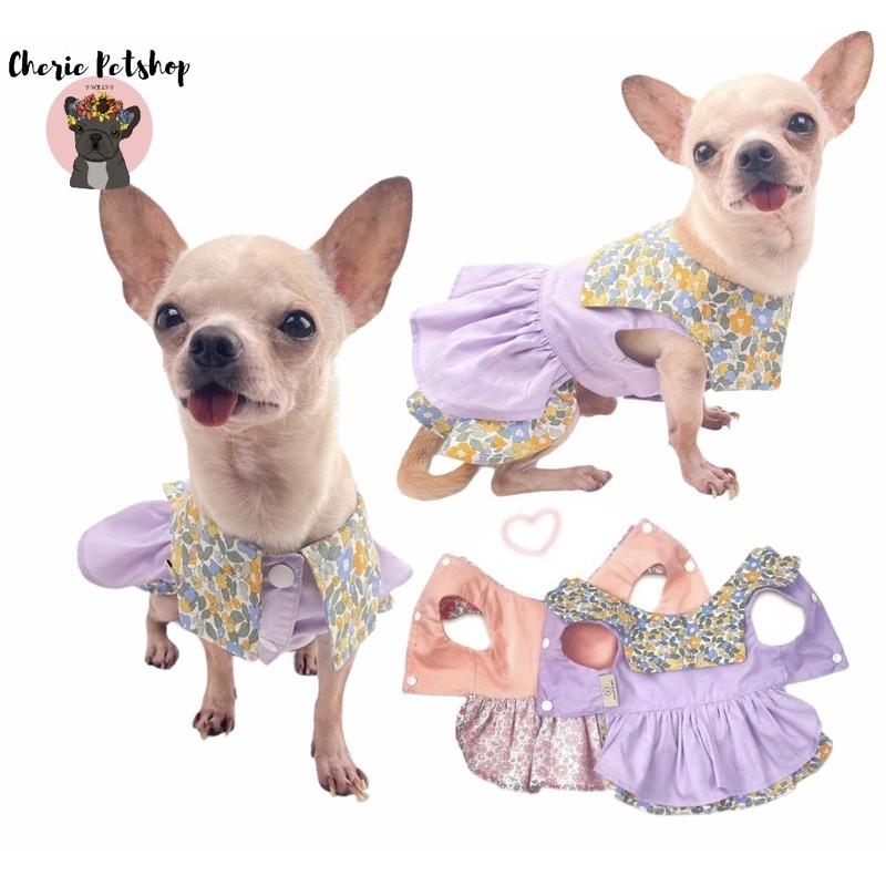 Áo đầm / váy cổ thuỷ thủ cho chó mèo