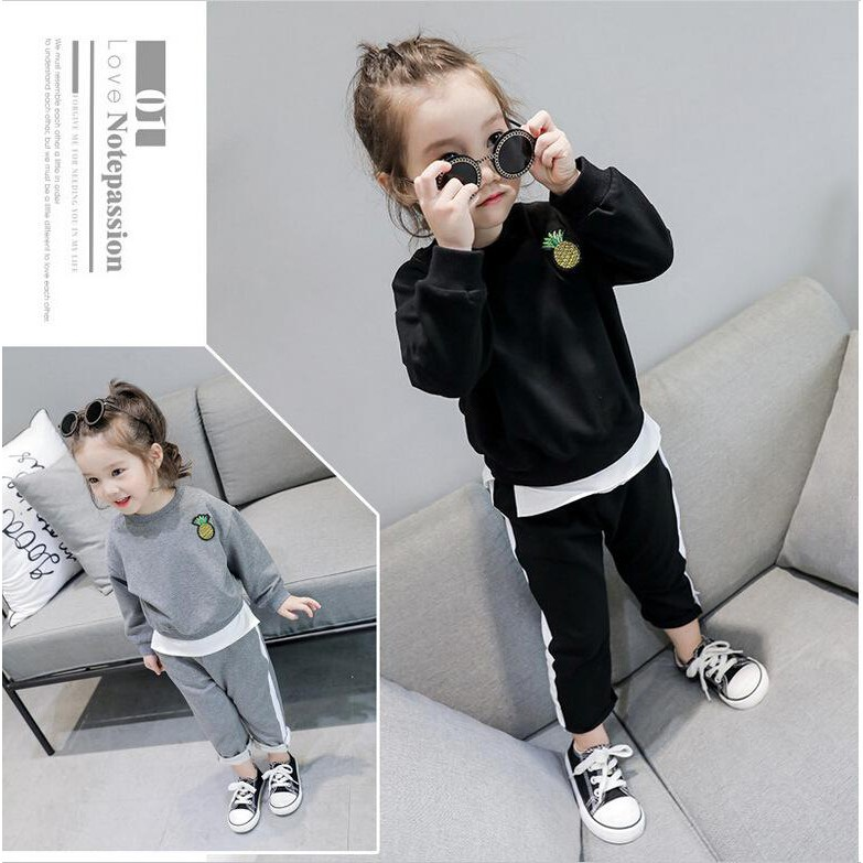 Korean Style Summer Suits Kid'S Leisure Fashion Sweater &Long Trousers Two Suits