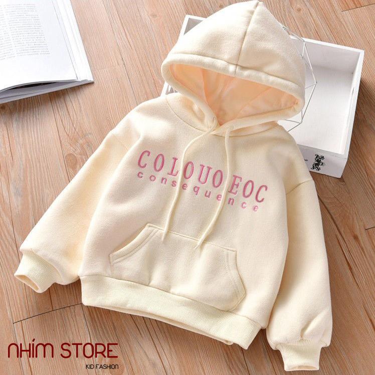Áo nỉ hoodie COOL có mũ cho bé gái 9-45kg