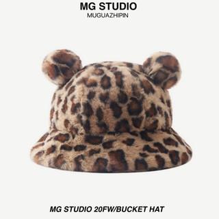 Mũ xô MG STUDIO có lỗ tai thêu họa tiết da báo nhồi bông độc đáo
