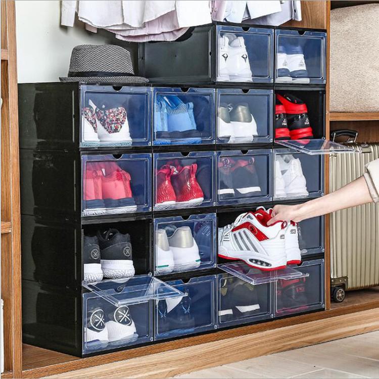 Hộp đựng giày nhựa cứng cao cấp - Có nắp mở nam châm, Lắp ghép tiện lợi