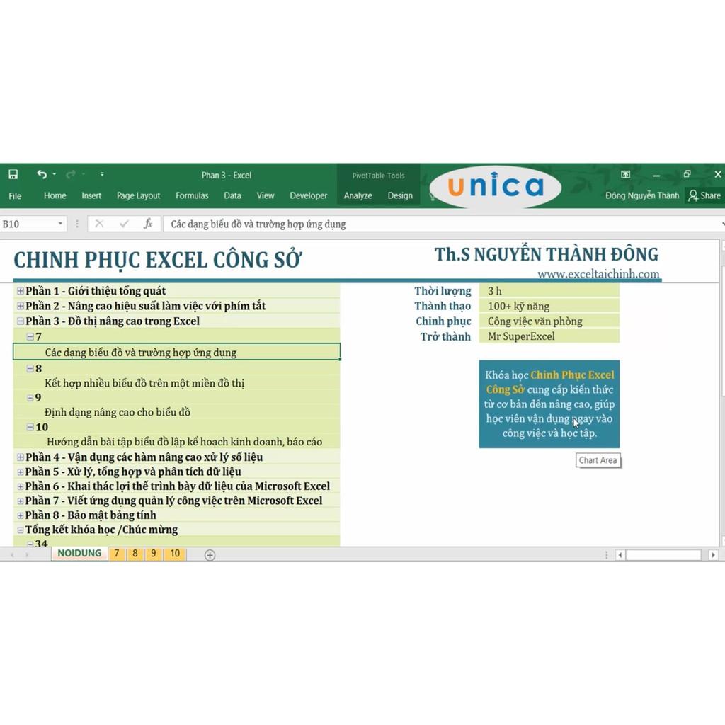 Toàn quốc- [Evoucher] FULL khóa học TIN HỌC VP - Chinh phục excel công sở [UNICA.VN]
