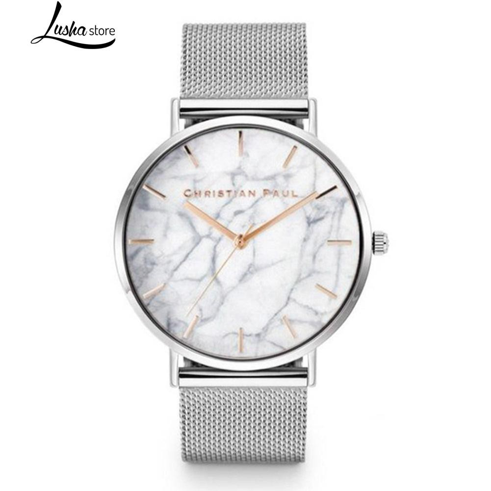 Unisex Marble Print No Numbers  Quartz Faux Leather Watch