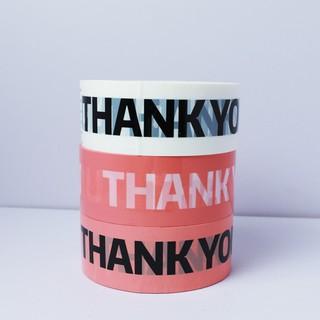 Băng dính trắng đóng gói hàng in chữ THANK YOU cuộn lớn 100 mét thumbnail