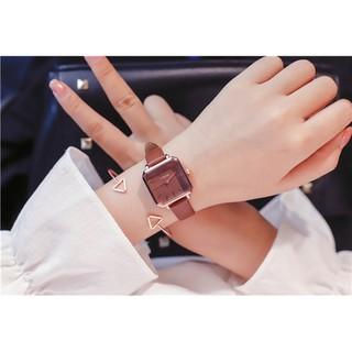 [NEW ARRIVAL] Đồng hồ nữ Ulzzang mặt vuông cá tính - HÀNG CHÍNH HÃNG - dây da mềm ôm tay thumbnail