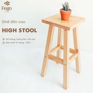 Ghế đôn FEGO cao 60cm Ghế trang trí decor gỗ thông Bàn ngồi ban công thumbnail