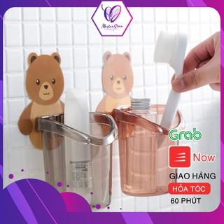Cốc gấu dán tường đựng bàn chải đánh răng, cốc gấu nâu đựng kem đánh răng Master Store