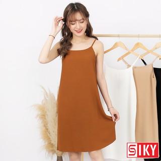 Váy 2 dây, đầm xuông – chất đũi lụa trơn basic nữ – VDX