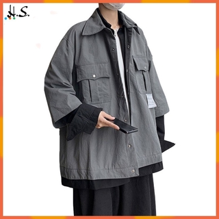 H&S Men's Coats Loose Lapel Long-sleeve Pocket Causal Tooling Jacket