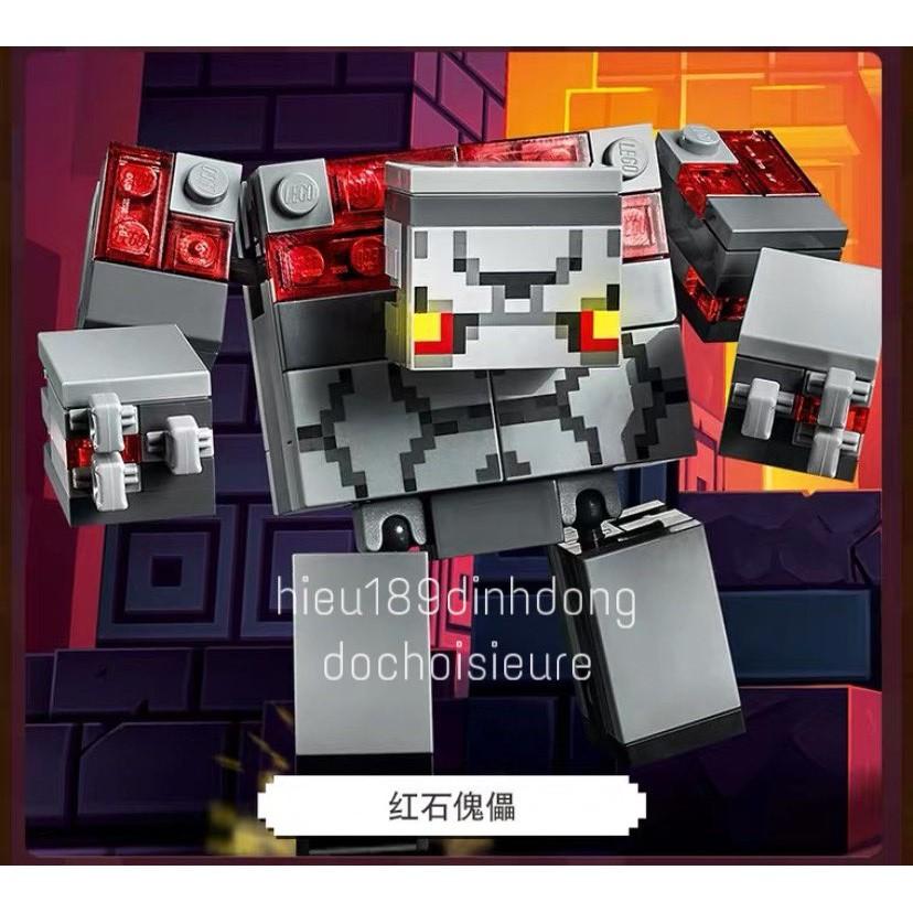 Lắp ráp xếp hình non Lego Minecraft 21163 my world lari 11514 : Cuộc chiến địa ngục đá đỏ 528...