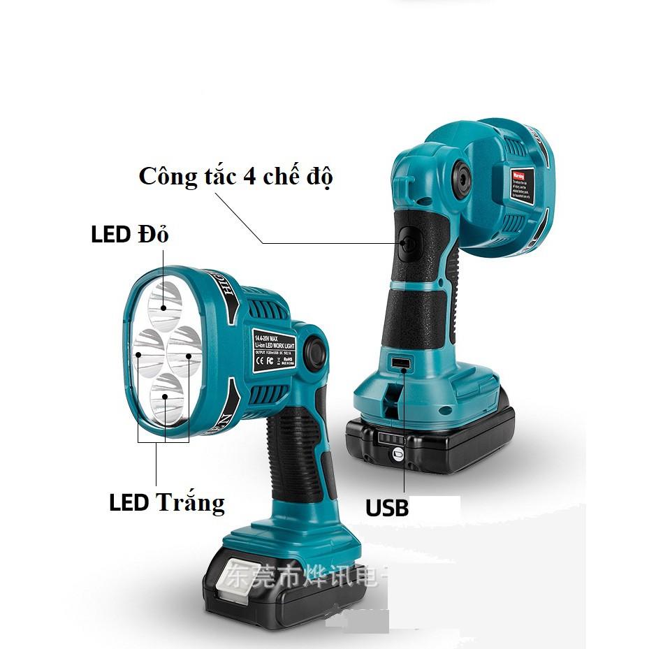 SV Đèn pin 4 led chiếu xa dùng pin Makita, Dewalt, Bosch, Miwaukee