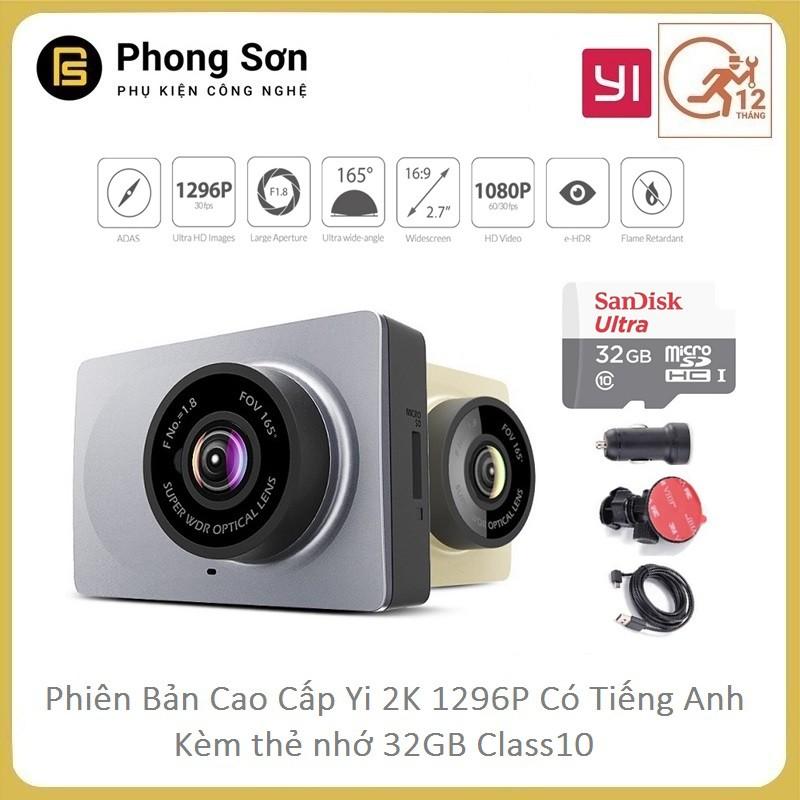 Camera hành trình Xiaomi YI Smart Dash Camera 1296p-phiên bản tiếng Anh + thẻ 32GB