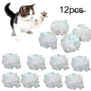 MWJ_12Pcs Pet Cat Dog Ring Paper Crinkle Ball Playing Interactive Sound Chew Toys