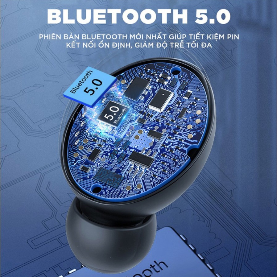 Tai Nghe Bluetooth Mini Không Dây F9 V5.0 Nhét Tai Chống Nước Chống Ồn Bass Trầm [BH 1 Đổi 1]