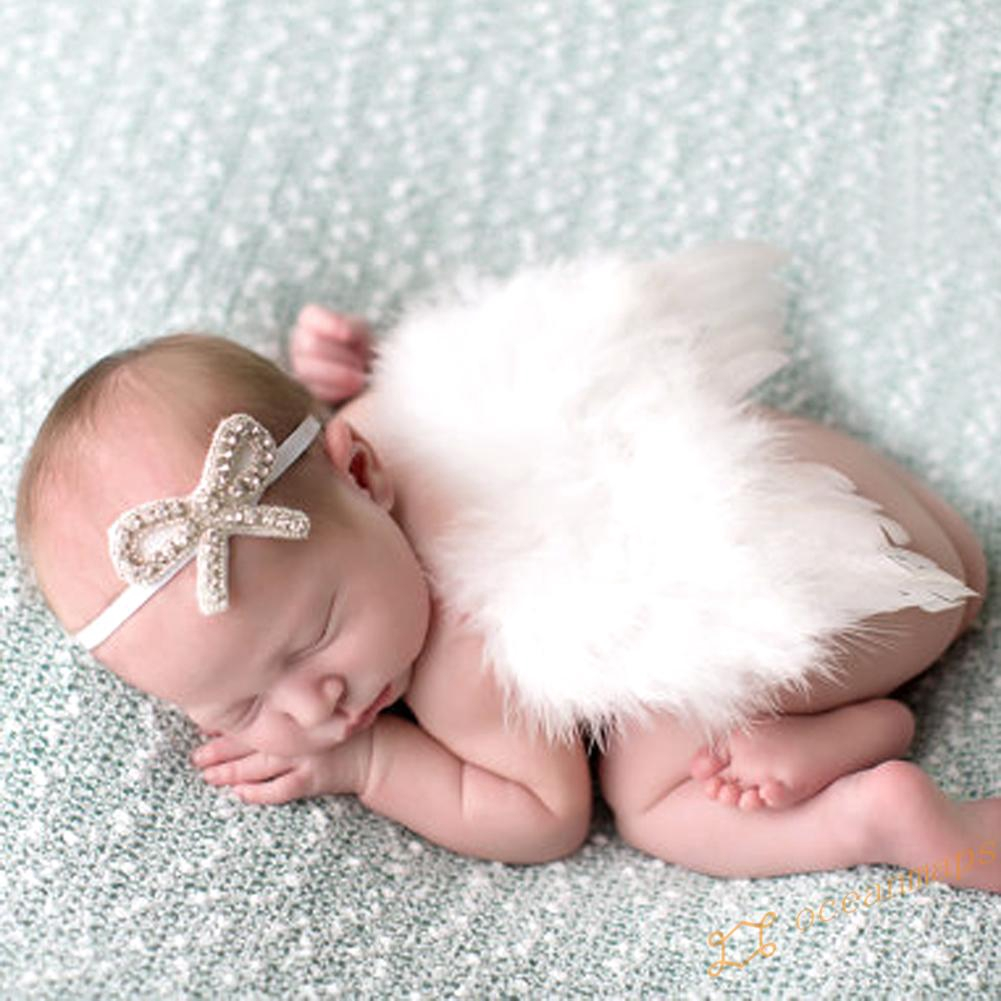 OC born Feather Angel Wing Pography Prop with Crystal Headband Set