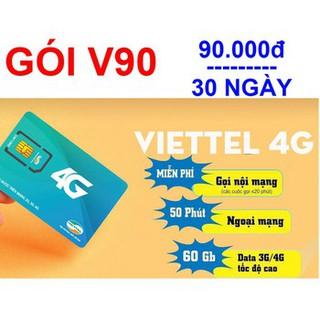 sim viettel 4G V90 tặng 60gb/tháng gọi nội mạng miễn phí ngoại mạng 50p