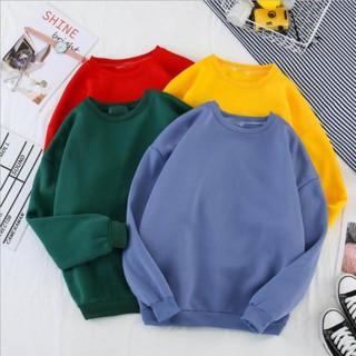 Áo Sweater – Áo Nỉ Trơn Nam Nữ Form Rộng Chất Liệu Nỉ Da Cá Cao Cấp,Freesize (Nam- nữ từ 40-65kg) ️🏆 ་