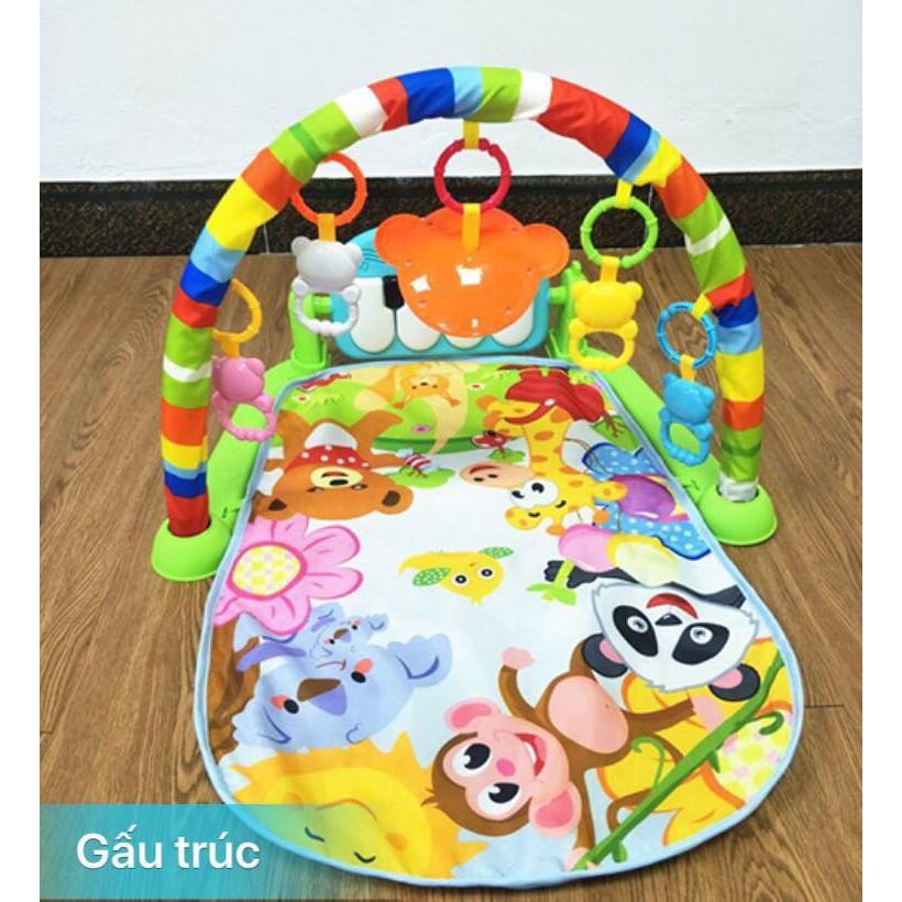 Thảm Khỉ Vườn Thú có đèn và nhạc, khung treo đồ chơi cho bé từ 0-12 tháng tuổi