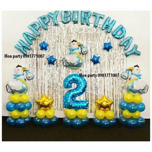 Set bóng trang trí sinh nhật gà xanh bc075