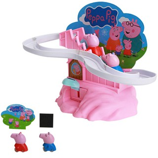 Manual Pink Pig Climbing Stairs Track Toy For Children.