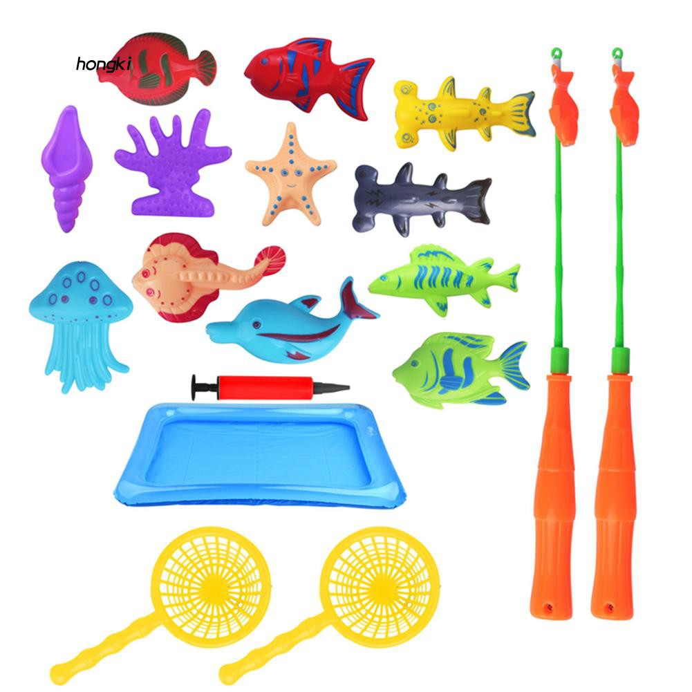 【HKM1】18Pcs Magnetic Bathtub Fun Game Inflatable Fish Kids Puzzle Interaction Toy Set