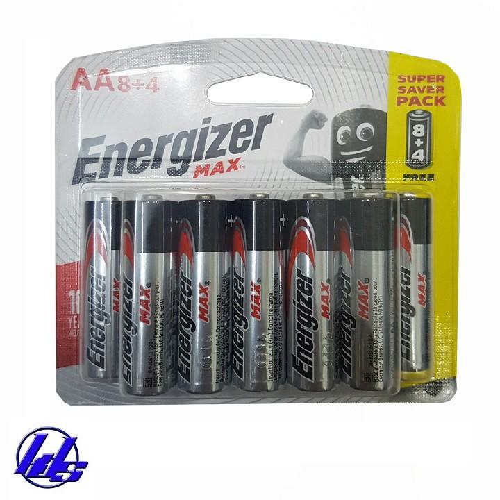 Pin AA Energizer E91 BP8+4 Alkaline 1.5V - Vỉ 12 viên