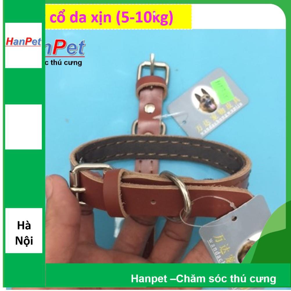 [Lấy mã giảm thêm 30%]Vòng cổ da xịn cho chó mèo từ 5-10kg (hanpet 335)