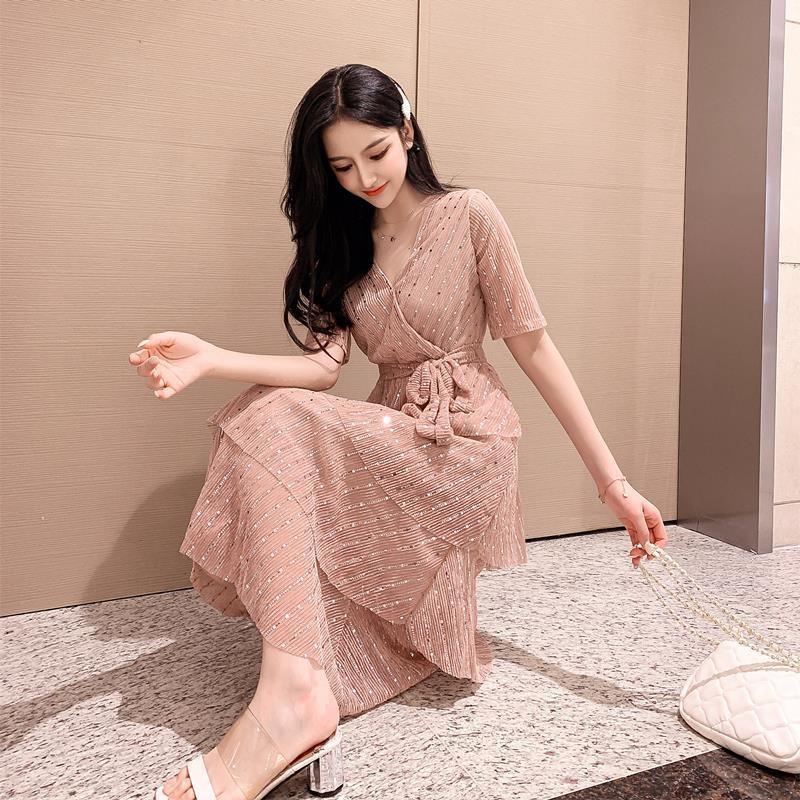 váy voan kim sa nữ xếp tầng thắt eo đẹp kiêu sa