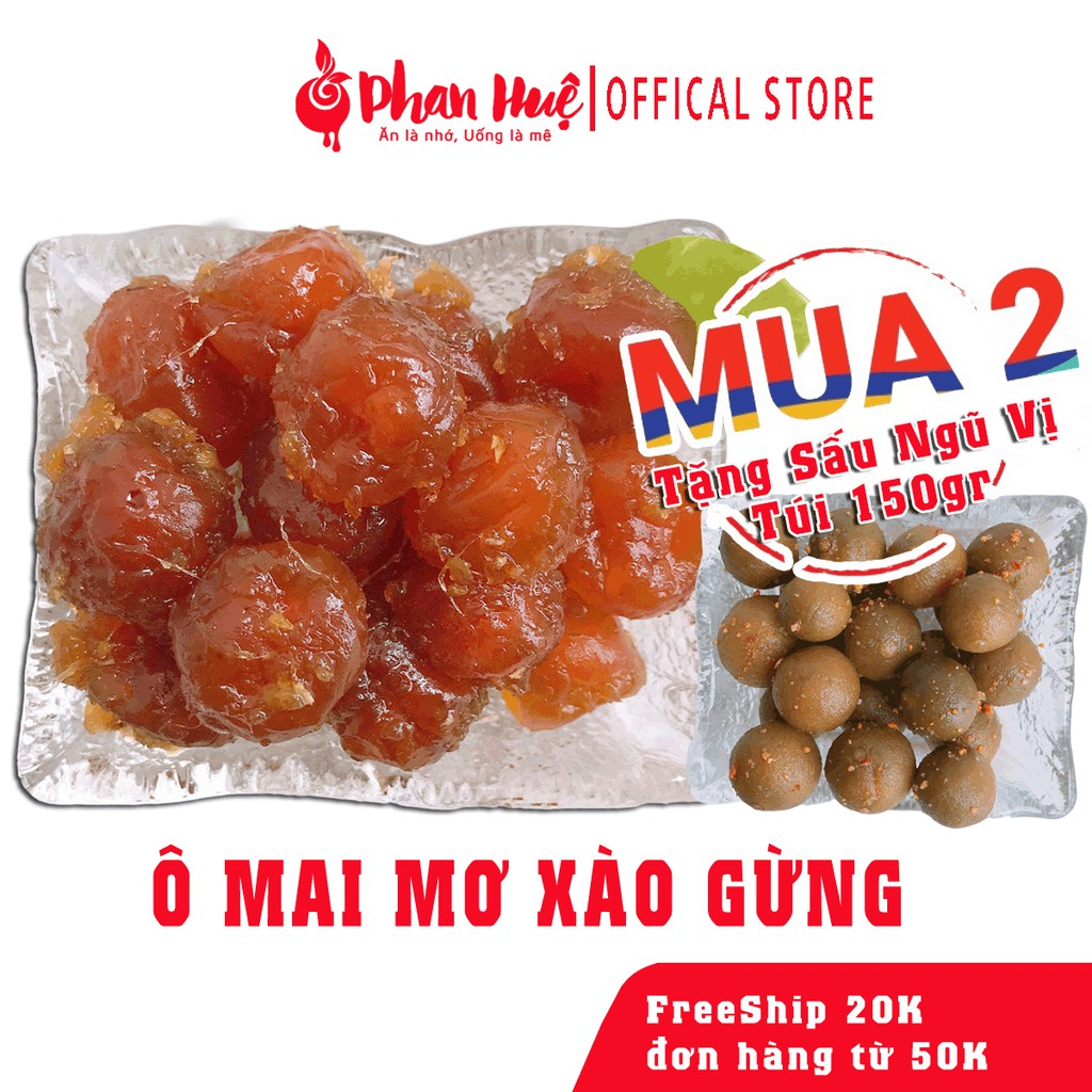 Ô mai xí muội mơ xào gừng Phan Huệ đặc biệt, mơ miền bắc chọn lọc. đặc sản Hà Nội, vị chua ngọt, cay nhẹ