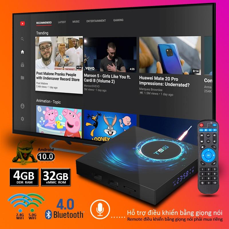 Android tivi box 4BG ram , 32GB rom , phiên bản android 10.0, bluetooth 5.0, băng tần wifi kép  bảo hành 1 năm T95