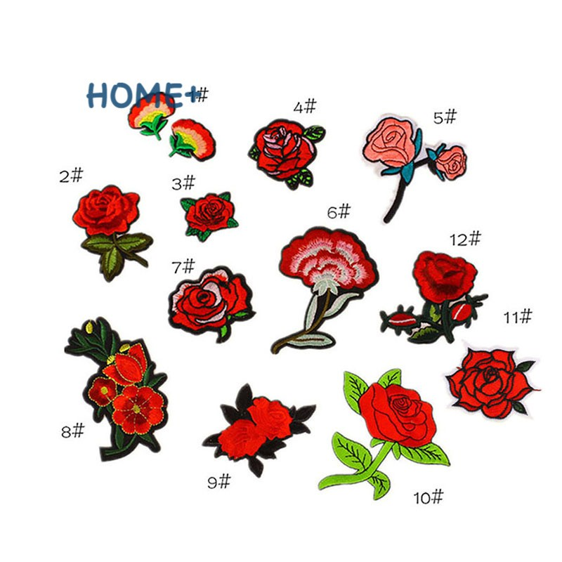 12 Pcs Cute Embroidery Patches Mixed Flowers Iron on Patches Applique Clothing Accessories Badge Patch Stickers @vn