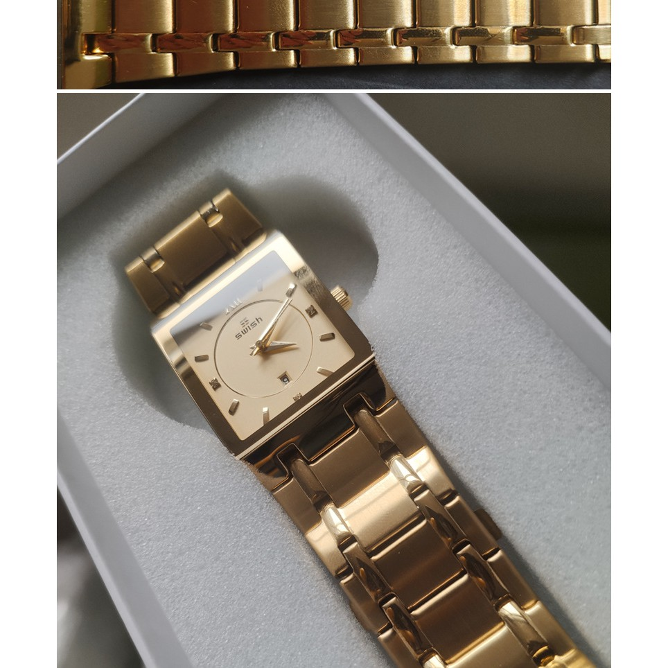 Đồng hồ nam SWISH mặt vuông thạch anh cao cấp, đúc đặc . Nhận hàng về không hài lòng hoàn tiền lại 100%. ( Mã: SW01)