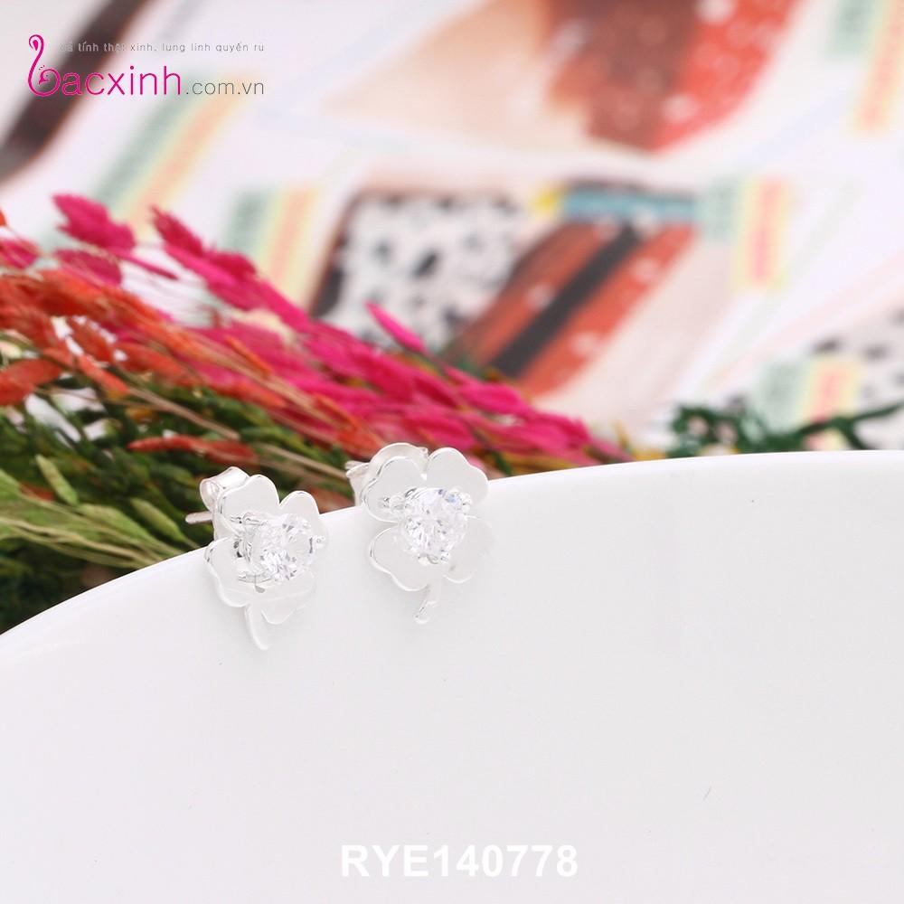 Bông tai nữ trang sức bạc Ý S925 Bạc Xinh - Cỏ bốn lá may mắn RYE140778