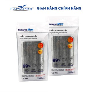 Combo 2 túi Khẩu trang y tế cao cấp kháng khuẩn 4 lớp Famapro max màu xám (10 cái túi ) thumbnail