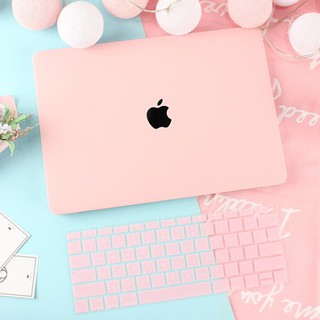 Combo Case ,Ốp + Phủ Phím Macbook Hồng Pastel (Tặng Kèm Nút Chống Bụi + Chống gãy đầu dây sạc )