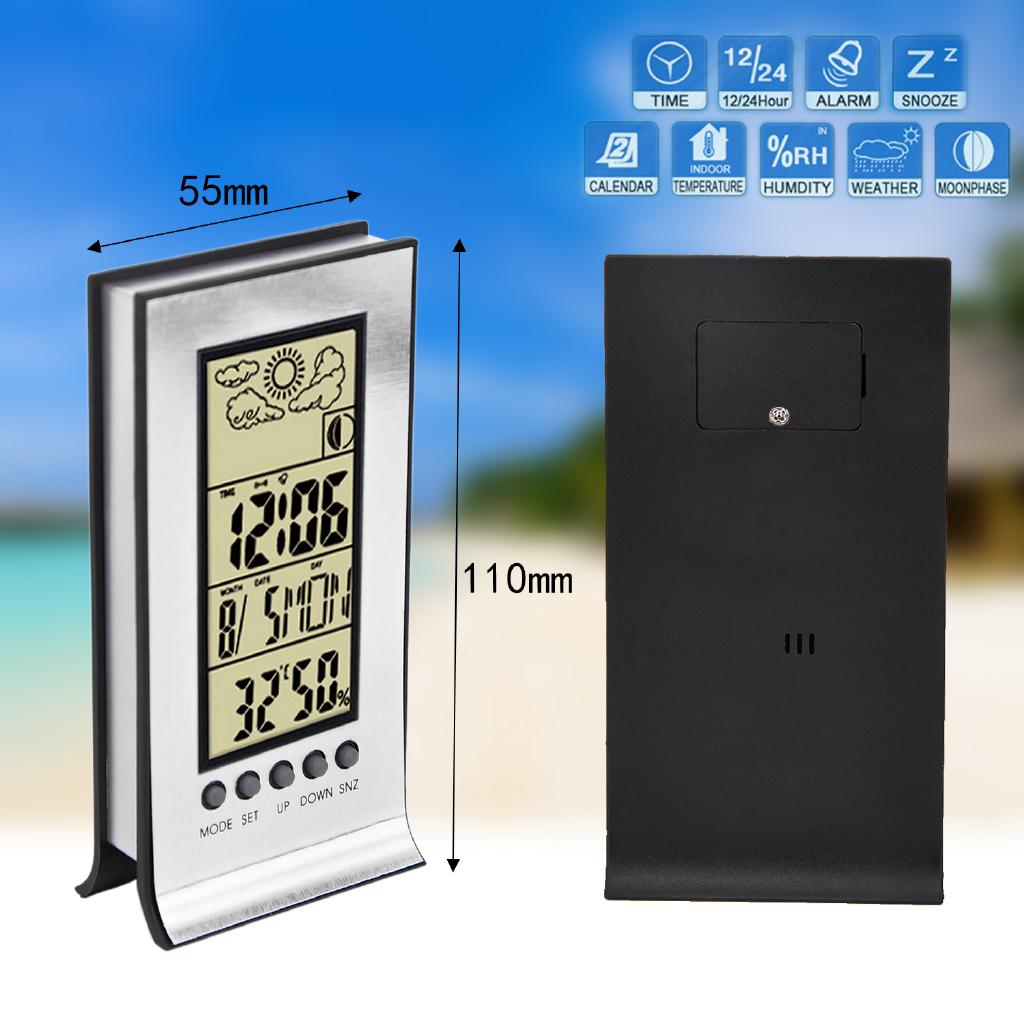 Display Temperature Digital Alarm Clock Weather Forecast LCD Screen Thermometer