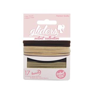 Bộ 17 dây cột tóc nhung velvet 2 màu nâu đậm và da, đen kết hợp xám, xanh dương, hồng, tím thumbnail