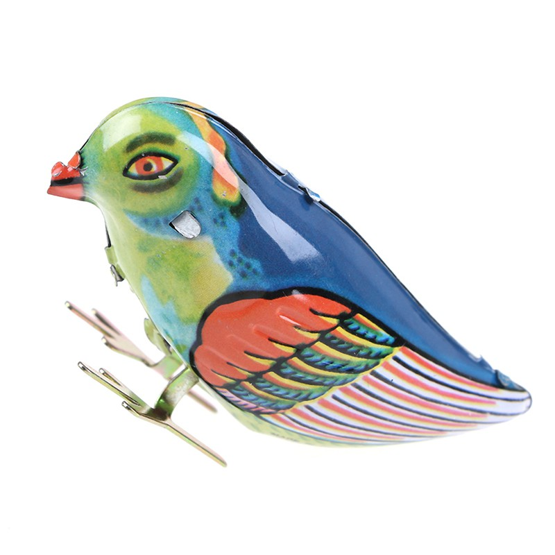HBVN Wind up clockwork pecking song blue bird magpie tin toy vintage retro gift