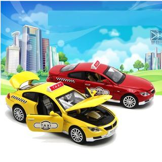 Xe taxi mô hình ô tô BMV đồ chơi trẻ em bằng sắt chạy cót có âm thanh và đèn xe mở cửa thumbnail
