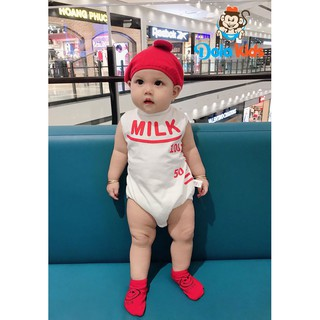 Bodysuit sơ sinh cho bé gái, bé trai 4-15kg hình Bình Sữa – DoLaKids