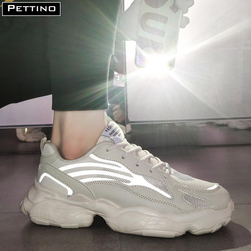 Giày Nam đế cao PETTINO -TS03 (trắng, be) vạch PHẢN QUANG năng động phối đồ