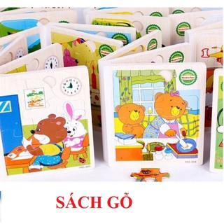 Sách gỗ ghép hình 6 trang cho bé ghép hình thumbnail